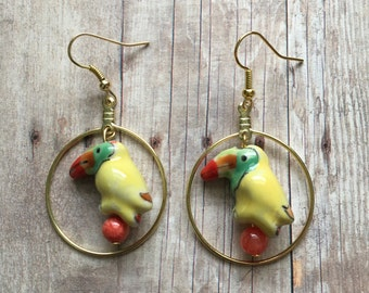 Yellow toucan earrings
