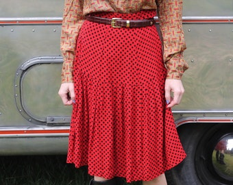80s Vintage Red Print Diamond Mid Length Skirt