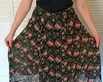 Sheer Floral Midi Length Skirt