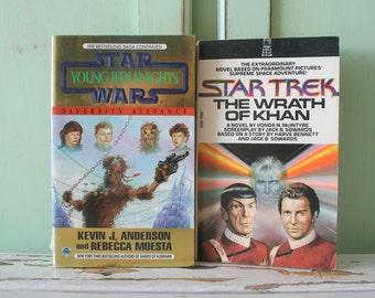 Vintage FANTASY Book Set of 2...instant collection. sci fi. fantasy. star wars. captain kirk. half human. jedi. spock. alien. collector