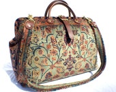 Carpet Bag, Weekender Bag/ Overnight/ Carry on Flight travel Bag. Green 'Agra'
