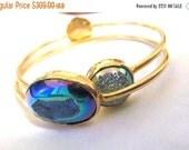MERRY SALE Titanium agate rainbow druzy and 18k gold vermeil bangle set