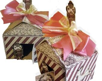 Printable Christmas village paper house gingerbread printable  DIy steampunk paper craft