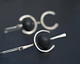 Mr Potter and Mrs Smith -  Unique asymmetric pictogram earrings,  handmade oxidized silver, raw raku ceramic