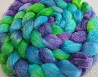 Merino/Tencel Roving - 50/50 - 4 oz - Turquoise, Lime Green and Lilac Purple