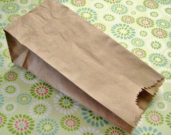 100 Mini Kraft Paper Lunch Sack, Half Pound 3 x 5 3/4 x 1 3/4 inches - Candy Buffet Bags, Penny Candy Bags