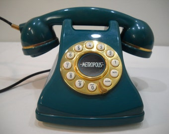 Green Metropolis Corded Table Phone Conair Retro Vintage Look