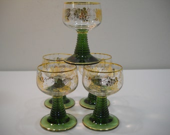 Vintage Set Of 5 Green Ribbed Stem Wine Glass Cordial with Gold Grape Design