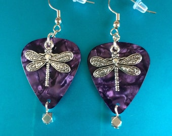 Guitar Pick with dragonfly earrings. Your choice of pick color!
