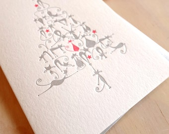 Cat card, Letterpress Christmas card Cute Christmas Cats. Cool cats form the shape of a christmas tree. Silver & Red. Made in Australia
