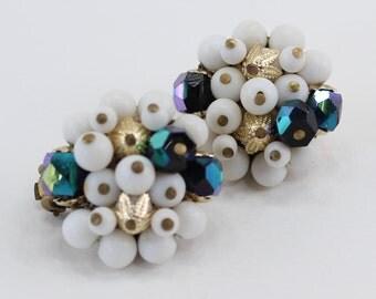Vintage Signed Japan White Plastic Beaded Goldtone Filigree Black Carnival Glass Aurora Borealis Cluster Clip On Earrings