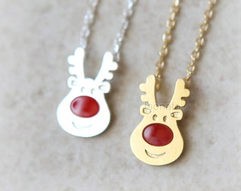 Rudolph Reindeer Necklace / choose your color, christmas gift
