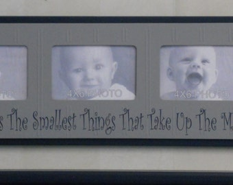 Navy Gray Baby Boy Nursery Wall Art 4x6 Picture Frame / Sign - Sometimes It's The Smallest Things That Take Up The Most Room In Your Heart