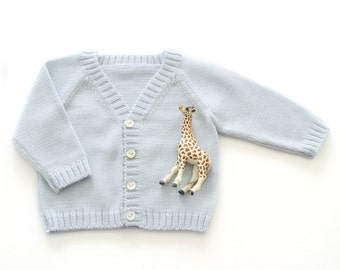Knitted classic baby coat in soft blue. 100% wool. READY TO SHIP size newborn.