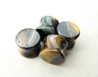 Plugs, Blue Tigers Eye, Tigerseye, Stone Plugs, Crystal Plugs, Saddle Plugs, Body Jewelry, Ear Stretchers, Body Mods, Body Modification