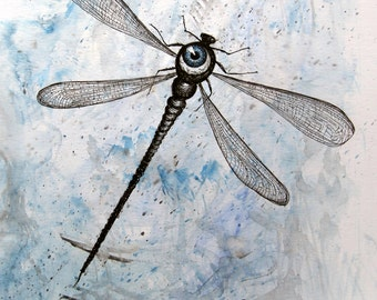 Eyedragonfly - mixed media original painting on paper