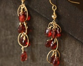 Garnet and 14k Gold Chandelier Earrings