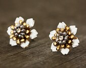 Vintage Enameled Brass, Rhinestone, and Freshwater Pearl, Flower Stud Earrings
