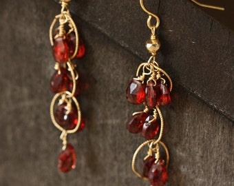 Garnet and 14k Gold Chandelier Earrings