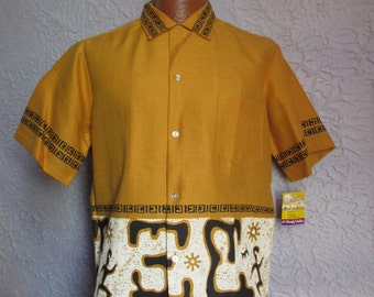 Vintage 1950's Atomic Tiki Hawaiian Shirt MINT med.