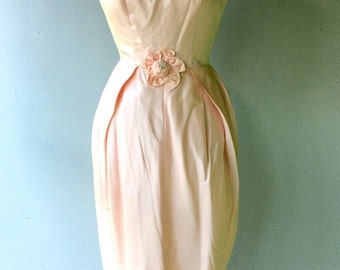 1950s Pink TAFFETA Floor Length Dress // Xs