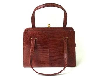 Vintage mid century brown lizard skin handbag