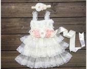 Rustic flower lace dress, Posh Baptism girl  dress , Posh Lace Dress Set,Baby Lace Dress,Country Flower Girl dress,
