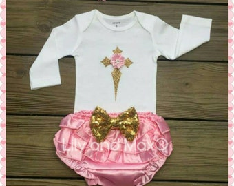 Pink and gold Christening bloomer Outfit, Pink and gold Christening outfit bloomer set, more colors available~