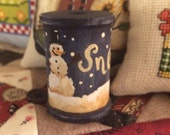 Hand painted original design collectible wood spool with snowman - OFG - FAAP
