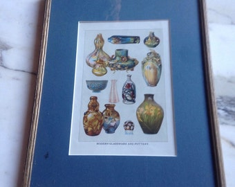 Framed modern glassware and pottery