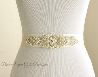 "Rhinestone Wedding Sash, Rhinestone Bridal Belt, Pearl Crystal Bridal Belt, Crystal Dress Sash Crystal Rhinestone Belt 7"" of Rhinestones"
