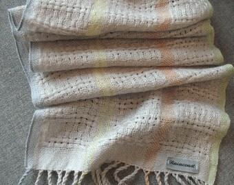Silver Grey Lacy Handwoven Alpaca, Merino and Silk Scarf