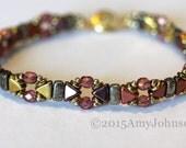 Beadweaving Bracelet,Pink Gold Cuff, Metallic Bead Bracelet,Peach Firepolish Crystals,Jewelry, Amy Johnson Designs BX2011