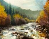 Original oil painting, Exploring the River, autumn impressionist landscape painting