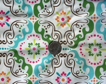 New ONE Yard Brother Sister Design Songbird B41 LNF P17 Cotton Fabric One Yard 2 Yards Available Medallion Floral Print Fun Fabric
