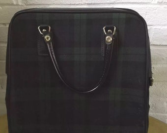 Vintage Navy/Green plaid Travel Case Carry On / Bag.
