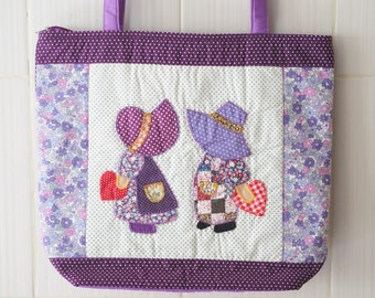Patchwork Handbags, Tote Bag, Sue tote bag, Quilted bag Purple Color, Cotton Fabric Shopping Bag, Summer Bag
