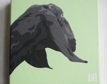 Goat Art Print - Goat Canvas Print - Nubian Goat Portrait
