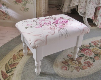 shabby chic barkcloth pink rose foot stool ottoman tuffet cottage decor romantic style