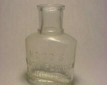 c1890s Hood's Tooth Powder Lowell, Mass., Cork Top Dentist Dental Medicine Bottle No. 2