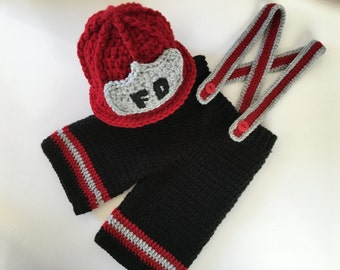 Crochet Firefighter Helmet & Pants-Fireman Outfit-Newborn Photo Prop-Baby Firefighter Costume-Infant Fireman Outfit-