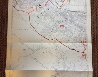 Industrial Decor Map 1980's  Redwood City San Carlos Portola Valley huge California vintage