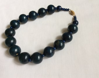 Blue Bead Choker Necklace