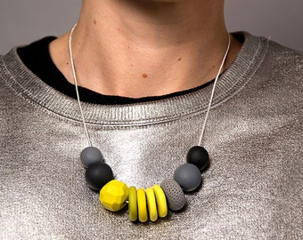 Yellow Geo Polymer Necklace on Silver Plate Chain