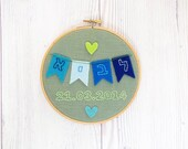 Hebrew name wall art ,Jewish baby gift, kid's room wall art, Nursery décor, flags kid's name sign, Embroidery hoop, baby shower gift