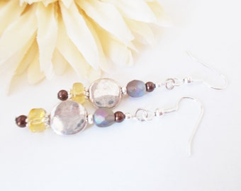 Boho Earrings, Brown Drop Earrings, Czech Glass Earrings, Beaded Earrings, Silver Earrings, Chocolate Pearl Earring, Bohemian Dangle Earring