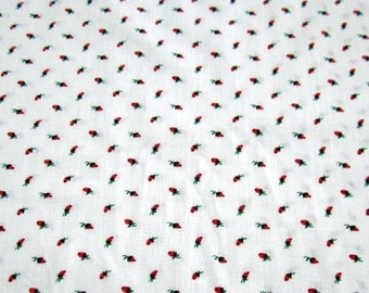 Dark Pink Rosebuds on White poly/cotton fabric