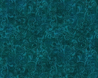 In Bloom Teal Tonal Scroll premium cotton fabric from Quilting Treasures 24219-Q