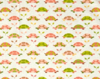 Les Amis Turtle Parade Coral and Green on White premium cotton Fabric by Michael Miller Fabrics -