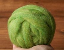 Wool Roving for Needle Felting in Green Apple, Spring Green, Grass, Lime, Kiwi, Wet Felting, Spinning, Chunky Yarn, DIY